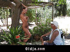 Sexy Angel Rivas sucks two old dicks and then get wazoo fuck