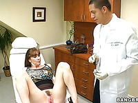Sexy older darling is getting her shaved twat fingered