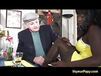 Just when his dick is well rubbed by a black doll, two studs arrive and Papy watches the dame being fucked like eager in her anus and cunt!
