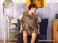 Whilst getting her massage, this preggy dame becomes very horny, especially when her large cans and beaver are licked!