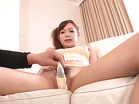 Sweet nymph from Asia gives blow job and feels rod in cunt