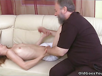 Avid old guy bonks mouth and wet slit of a juvenile hotty