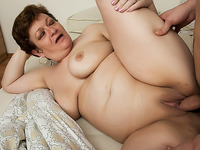 Chubby granny gets a schlong in her arse
