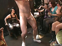 Stripper is getting his tough pecker sucked by several hawt chicks