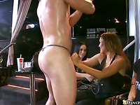 Sexy beauties are having explicit fun with sexy male strippers