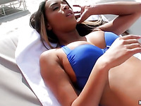 Charming darling gets her sexy shaved cunt hammered