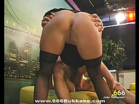 Stunning darling gives wet fellatio with amazing dutch fuck