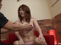 Large boobs Japanese stimulates her cunt with powerful toys