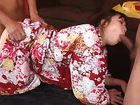 Multiple gang banging pleasures for cute Japanese chick