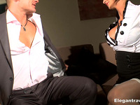 Delightful breasty playgirl Pearl Diamond stroking mellow schlong expertly