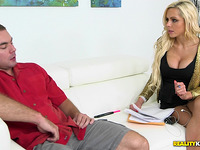 Stunning blond Nina Elle and boyfriend have a fun hardcore