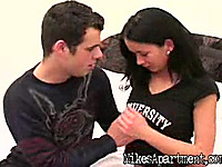 Wicked brown-haired Nikky worships dangler