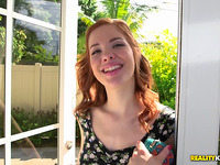 Astonishing redhead maiden Liz Leigh hardcore on a large sausage