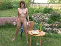 Nude honey drunk outdoors