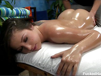 Hawt and sexy brunette hair Lola gets fucked hard from behind by her massage therapist