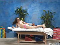 Cute eighteen year old Jeslene tempted and fucked hard after her free massage!