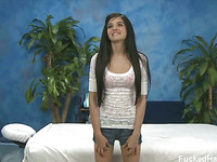 Cute eighteen year old Zoey Kush tempted and fucked hard after her free massage!