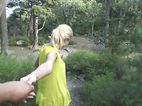 Curious and hot blonde in purple panties is masturbating outdoors