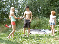 18 year old plays outside with her naked friends