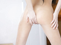 Young brunette shows off her amazingly sweet puss