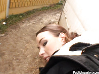 Pretty and admirable brunette Stella is sucking big schlong outdoors