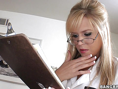 Naughty nurse Darcy Tyler with natural tits is satisfying her patient