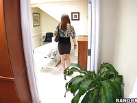 Curious brunette Ray Veness is doing deep blowjob on her knees