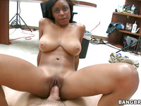 Naughty and black slut with perfect butt is having gangbang