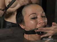 This whore is abused in a really nasty and hard core way tight up