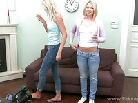 Lana and Lea receive raucous fucking with stud during casting