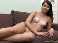 Bikini model Leila receives a wild couch spooning from stud