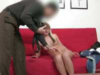 Amateur Kelly is showing off her irresistible shaved beaver