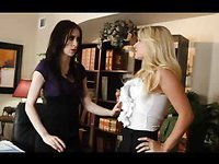Brunette slut takes control of her blond lover and rides her face
