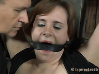 Gagged brunette rope and spanking