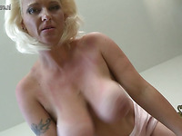 Blonde slutty bitch is fingering dirty and filthy home alone