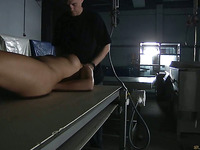 Breasty redhead enslaved and spanked in weird sub place