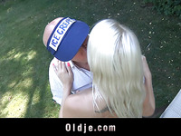 Oldman licking siropous youthful golden-haired muff