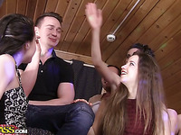 Delightful brunettes have a fun DP fun in college fuckfest meeting