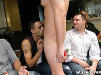 Gay sausage party where they are deeply sucking on the penises