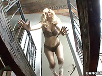Blonde marvelous pornstar with big tits is giving the cute head job