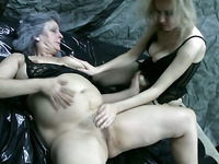 Old and youthful lesbian babes dong action