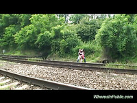 Close to the railway our slut has her fine boobies fondles and starts a sexy oral job.