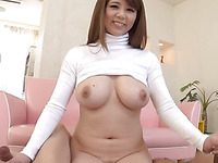 Horny Oriental with large merry boobs thrills with wet oral job