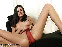 Shovelling hard toy into her anal delights sweetheart