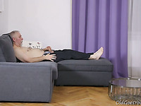 Youthful sweetheart has steaming sex with old fucker rides him hard