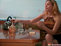 Elegant blond Unknown gets squeezed and teased