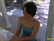 Pretty brown-haired girlie Evelyn Valkova blows prick ready for sex