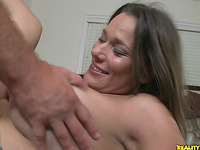 Astounding brown-haired Zoey Oneill riding a large lever