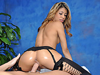 Sexy latin babe Veronica copulates and sucks her massage client on the massage table!