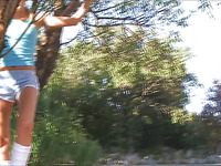 Pigtailed and impressive Sasha Blonde is satisfying her buddy outdoors